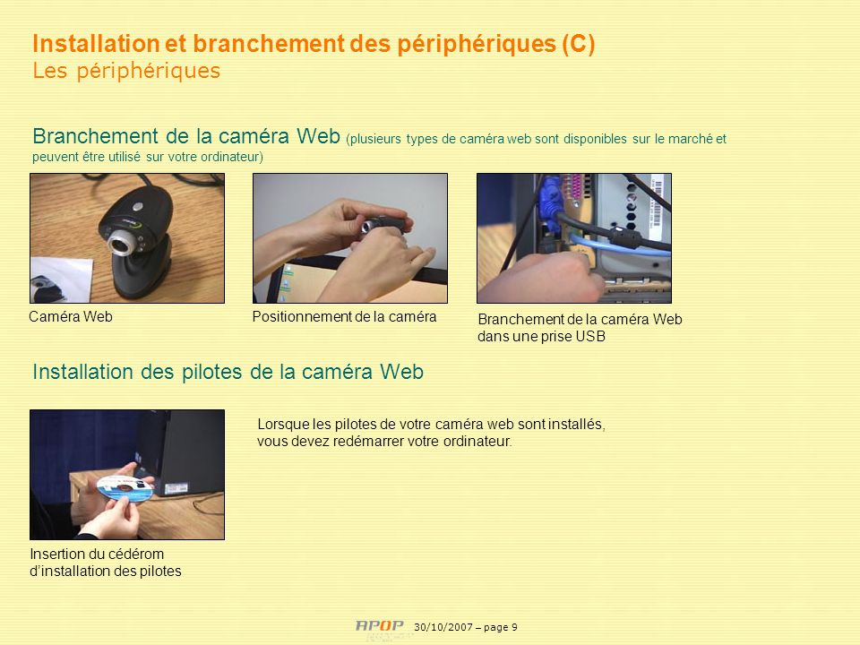 APOP9 Installation et branchement des périphériques (C) Les p é riph é riques Branchement de la caméra Web (plusieurs types de caméra web sont disponi