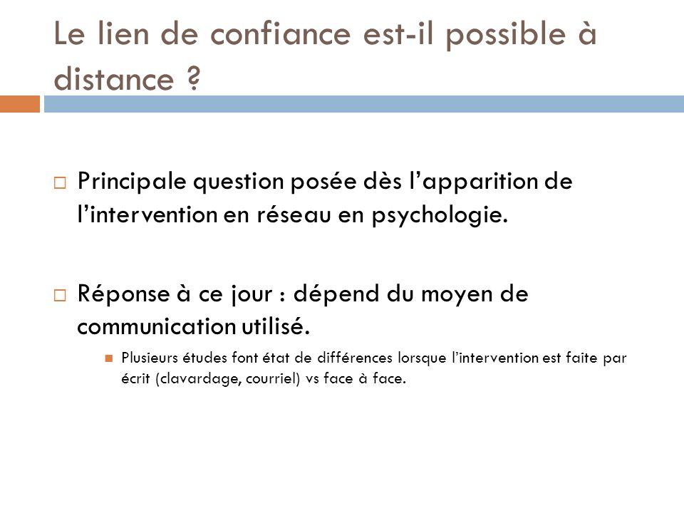 Le lien de confiance est-il possible à distance ? Principale question posée dès lapparition de lintervention en réseau en psychologie. Réponse à ce jo