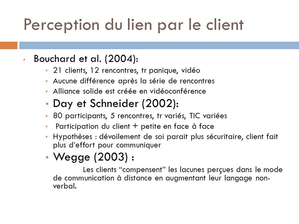 Perception du lien par le client Bouchard et al. (2004): 21 clients, 12 rencontres, tr panique, vidéo Aucune différence après la série de rencontres A