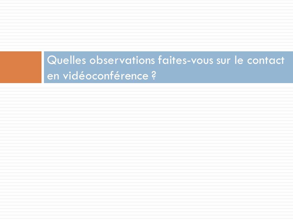 Quelles observations faites-vous sur le contact en vidéoconférence ?