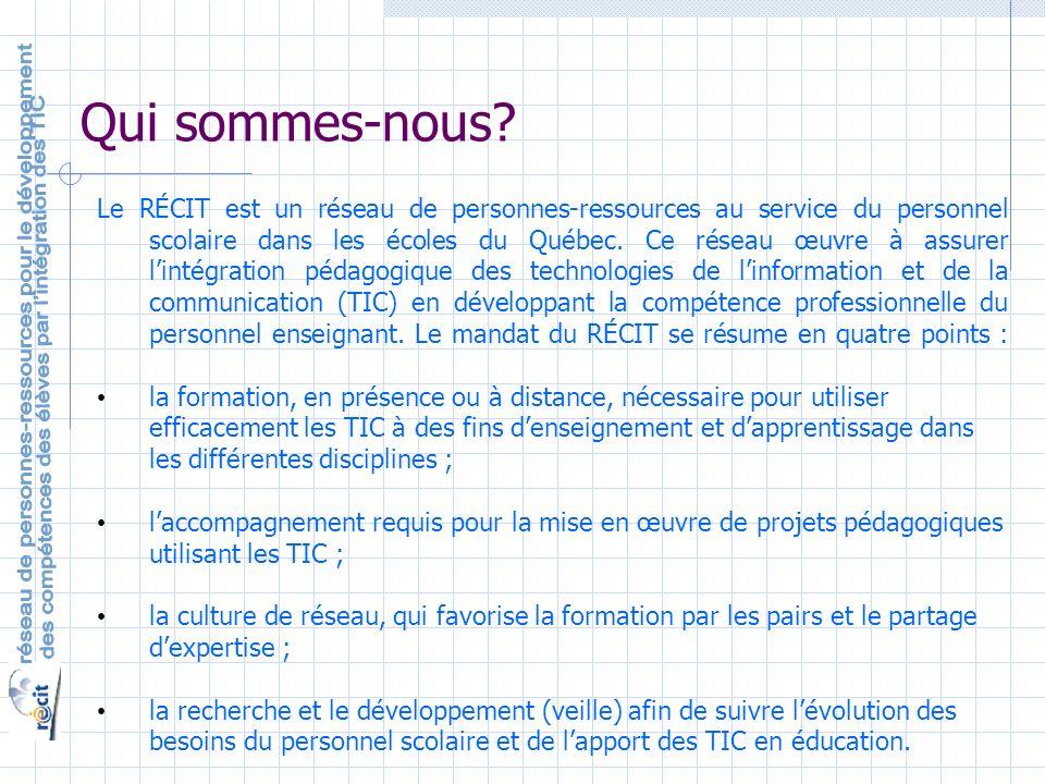 Le RÉCIT est un réseau de personnes-ressources au service du personnel scolaire dans les écoles du Québec.