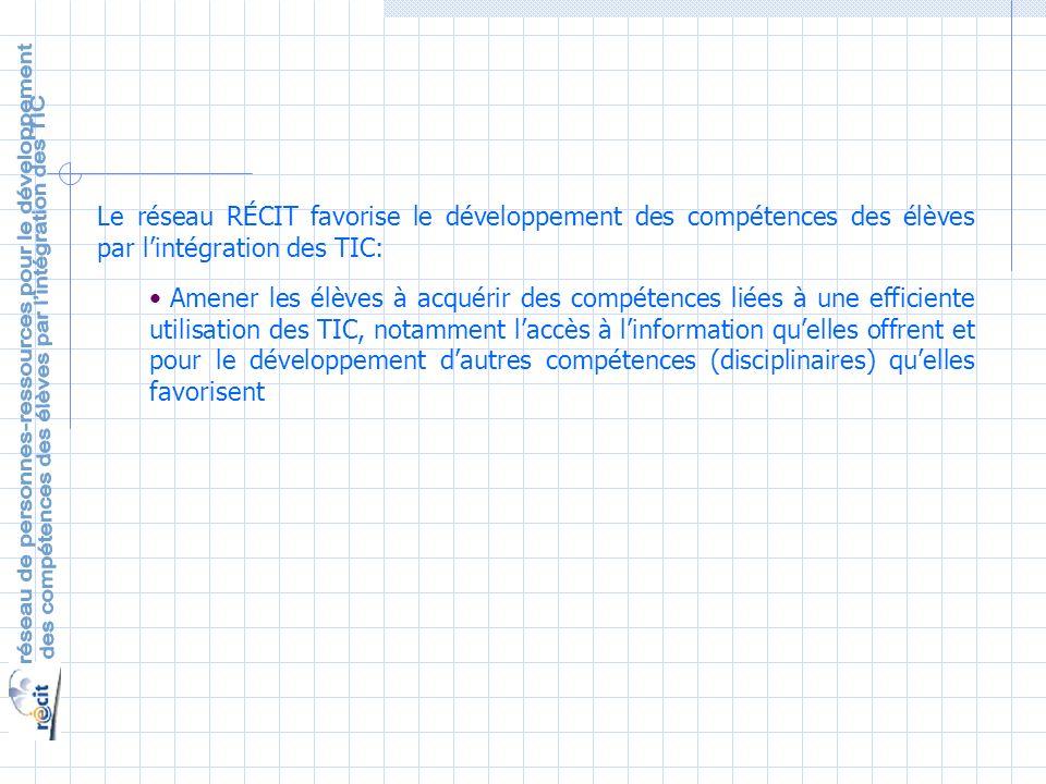 Le réseau RÉCIT favorise le développement des compétences des élèves par lintégration des TIC: Amener les élèves à acquérir des compétences liées à une efficiente utilisation des TIC, notamment laccès à linformation quelles offrent et pour le développement dautres compétences (disciplinaires) quelles favorisent