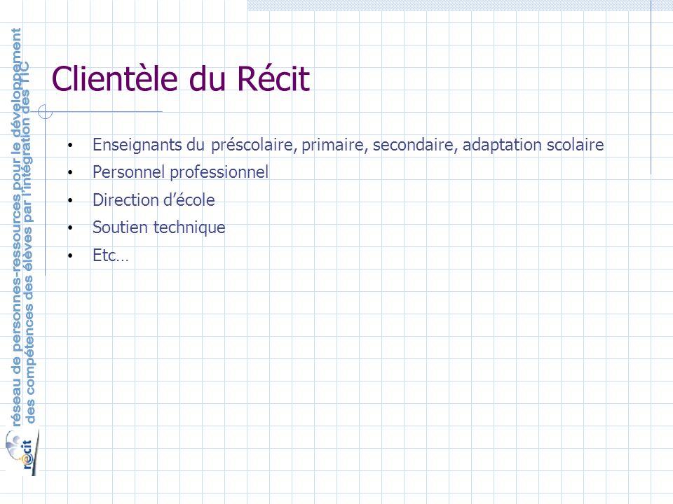Clientèle du Récit Enseignants du préscolaire, primaire, secondaire, adaptation scolaire Personnel professionnel Direction décole Soutien technique Etc…
