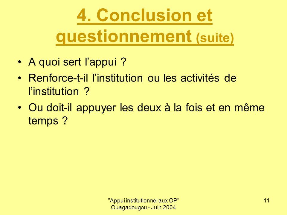 Appui institutionnel aux OP Ouagadougou - Juin 2004 11 4.