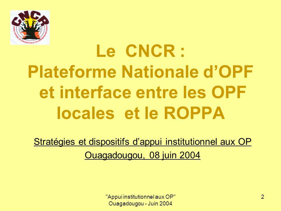Appui institutionnel aux OP Ouagadougou - Juin 2004 3 PLAN DE LA PRESENTATION 1.