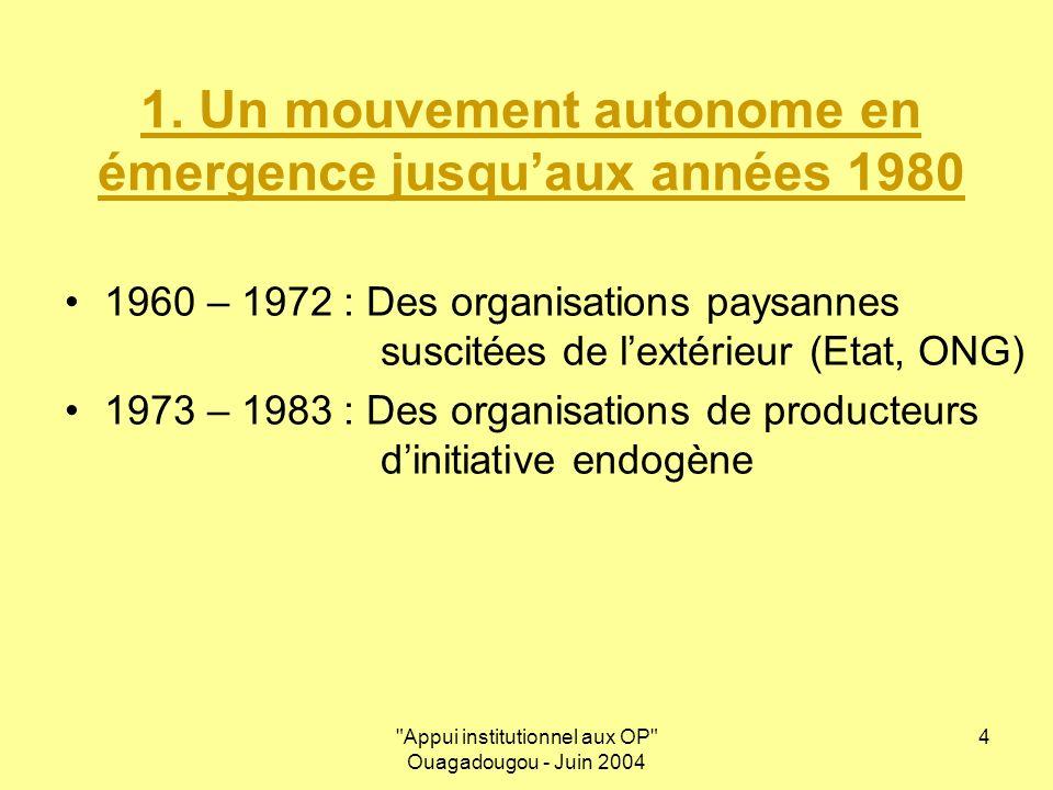 Appui institutionnel aux OP Ouagadougou - Juin 2004 5 2.