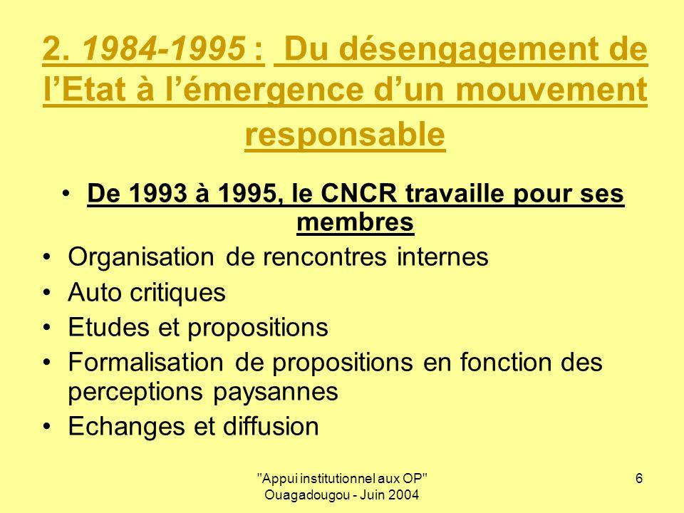 Appui institutionnel aux OP Ouagadougou - Juin 2004 6 2.