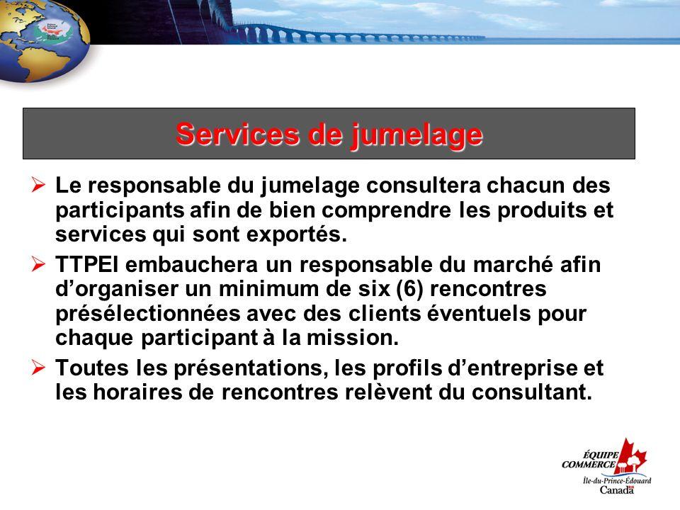 Services de jumelage Le responsable du jumelage consultera chacun des participants afin de bien comprendre les produits et services qui sont exportés.