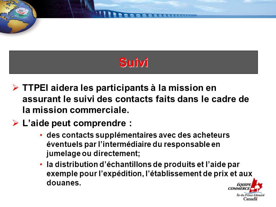 Suivi TTPEI aidera les participants à la mission en assurant le suivi des contacts faits dans le cadre de la mission commerciale.