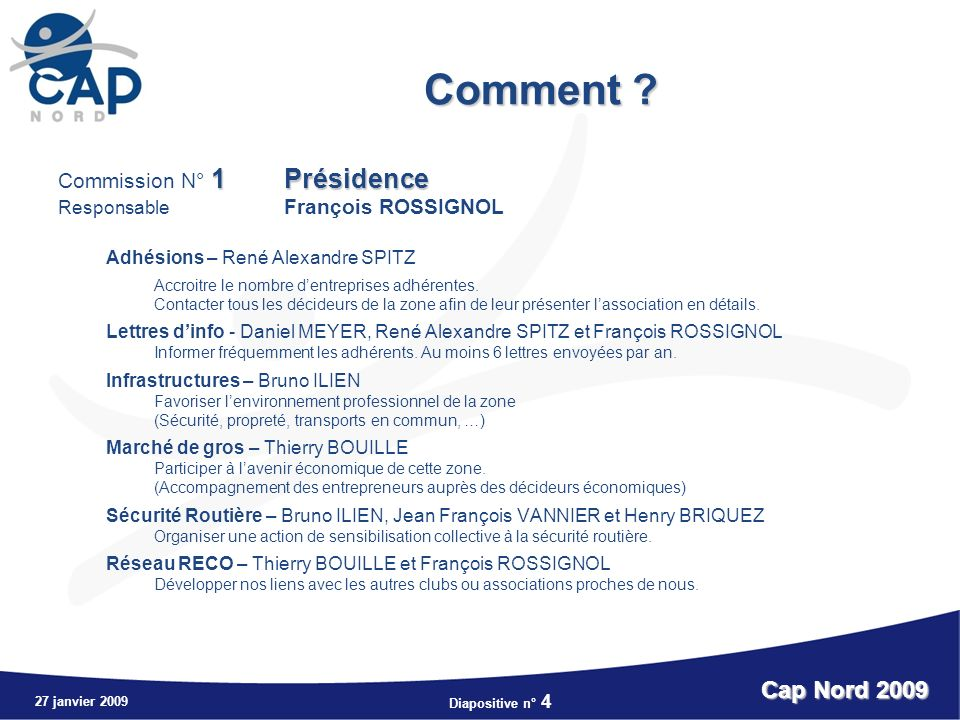 Diapositive n° 4 27 janvier 2009 Cap Nord 2009 Comment .