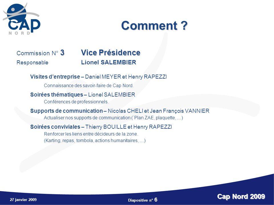 Diapositive n° 6 27 janvier 2009 Cap Nord 2009 Comment .