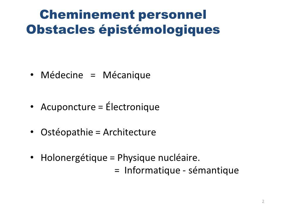 2 Médecine = Mécanique Acuponcture = Électronique Ostéopathie = Architecture Holonergétique = Physique nucléaire. = Informatique - sémantique Cheminem
