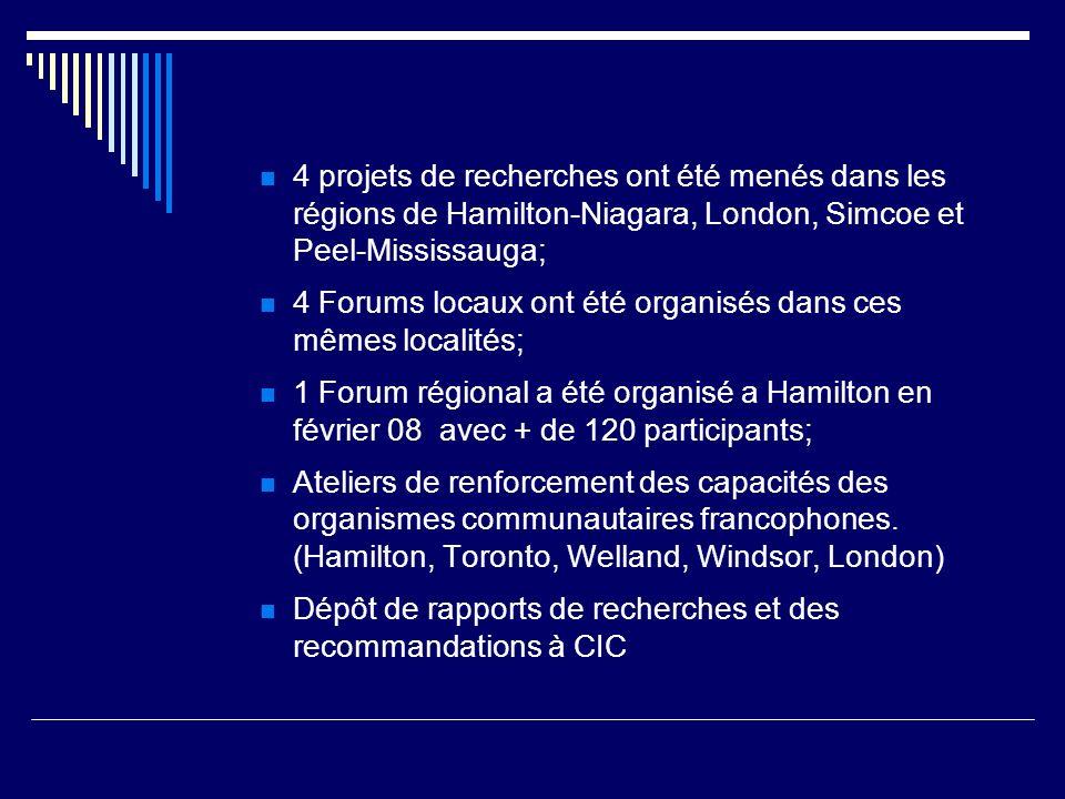4 projets de recherches ont été menés dans les régions de Hamilton-Niagara, London, Simcoe et Peel-Mississauga; 4 Forums locaux ont été organisés dans ces mêmes localités; 1 Forum régional a été organisé a Hamilton en février 08 avec + de 120 participants; Ateliers de renforcement des capacités des organismes communautaires francophones.