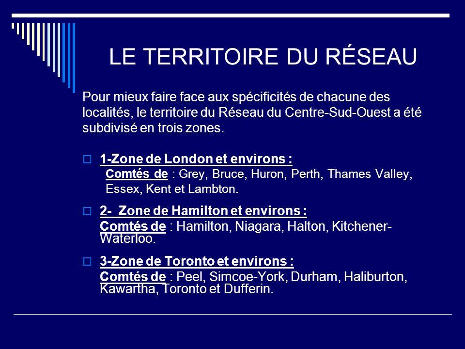 LE TERRITOIRE DU RÉSEAU Pour mieux faire face aux spécificités de chacune des localités, le territoire du Réseau du Centre-Sud-Ouest a été subdivisé en trois zones.