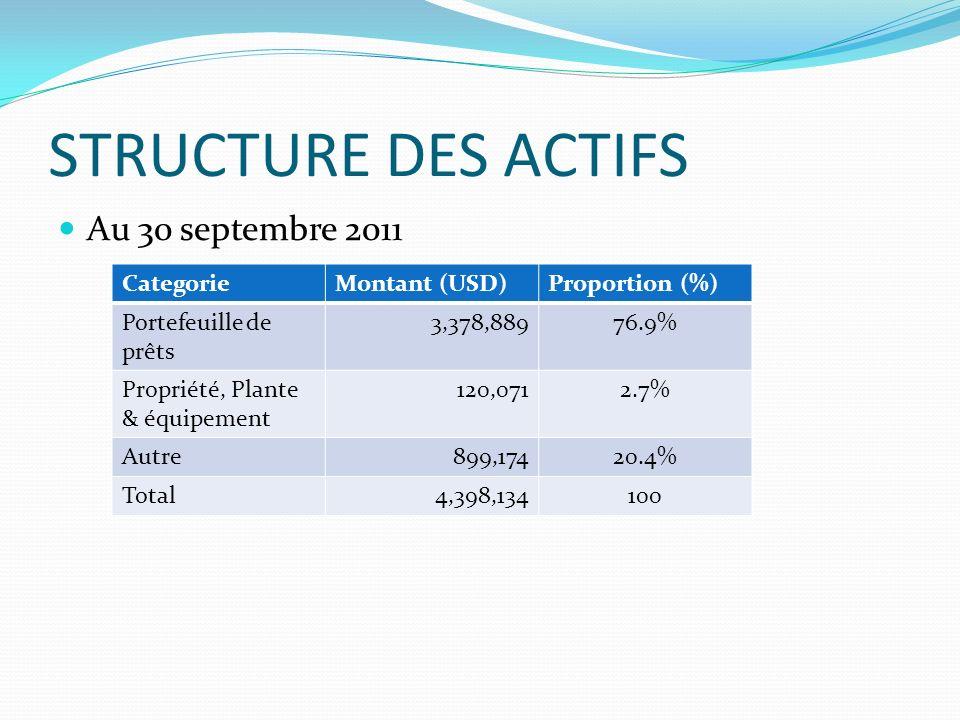 STRUCTURE DES ACTIFS Au 30 septembre 2011 CategorieMontant (USD)Proportion (%) Portefeuille de prêts 3,378,88976.9% Propriété, Plante & équipement 120,0712.7% Autre899,17420.4% Total4,398,134100
