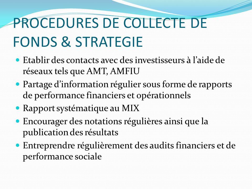 PROCEDURES DE COLLECTE DE FONDS & STRATEGIE Etablir des contacts avec des investisseurs à laide de réseaux tels que AMT, AMFIU Partage dinformation ré