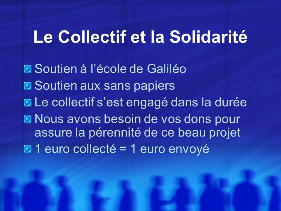 Le Collectif et la Solidarité Soutien à lécole de Galiléo Soutien aux sans papiers Le collectif sest engagé dans la durée Nous avons besoin de vos dons pour assure la pérennité de ce beau projet 1 euro collecté = 1 euro envoyé