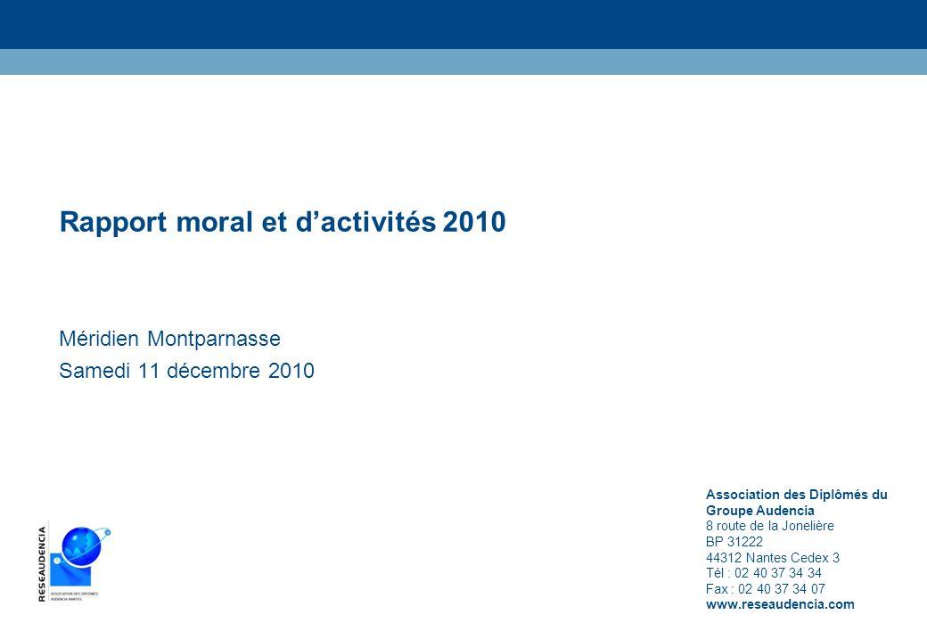Rapport moral et dactivités 2010 Méridien Montparnasse Samedi 11 décembre 2010 Association des Diplômés du Groupe Audencia 8 route de la Jonelière BP