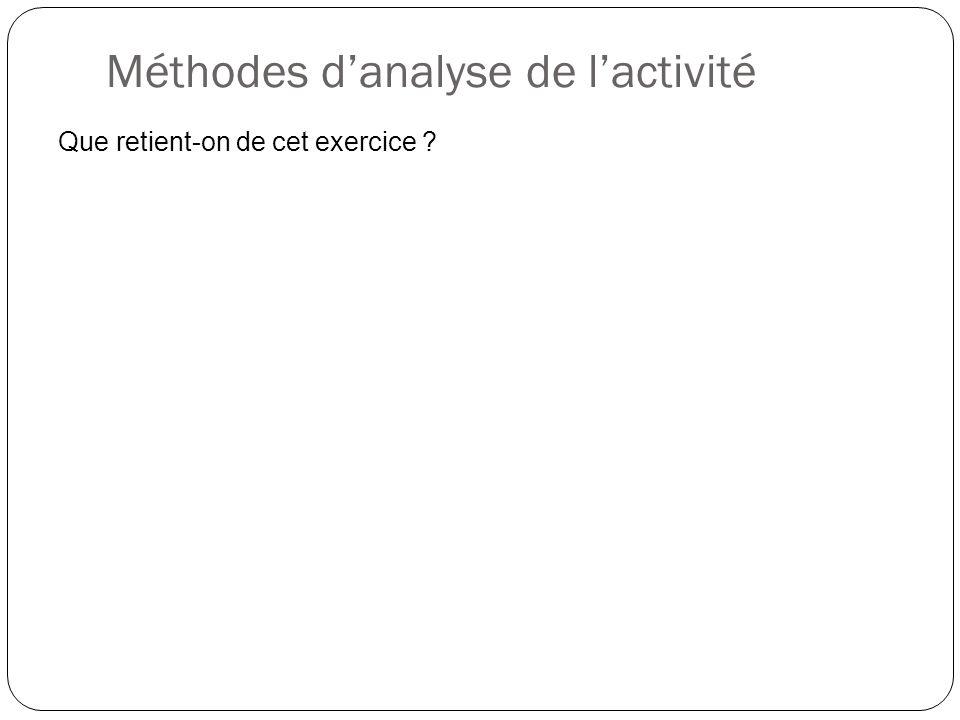 Méthodes danalyse de lactivité Que retient-on de cet exercice ?