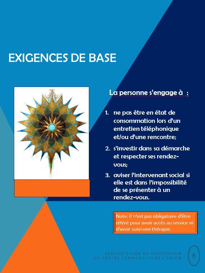 EXIGENCES DE BASE La personne sengage à : 1.ne pas être en état de consommation lors dun entretien téléphonique et/ou dune rencontre; 2.sinvestir dans