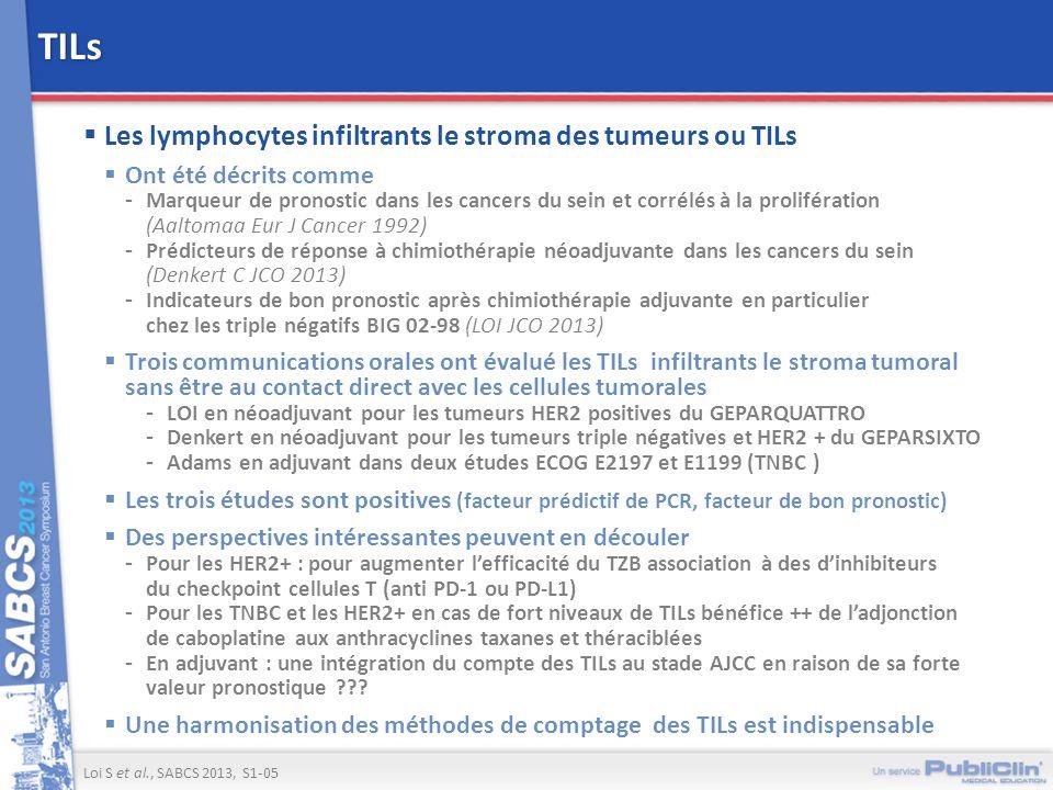 TILs Les lymphocytes infiltrants le stroma des tumeurs ou TILs Ont été décrits comme -Marqueur de pronostic dans les cancers du sein et corrélés à la