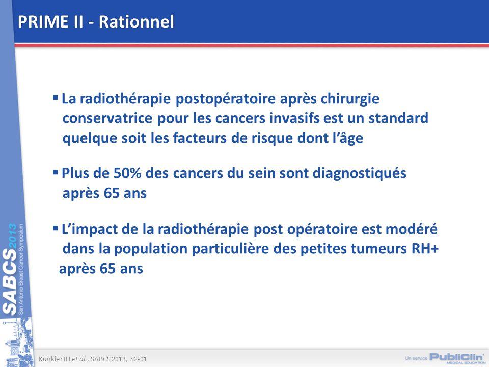 PRIME II - Rationnel La radiothérapie postopératoire après chirurgie conservatrice pour les cancers invasifs est un standard quelque soit les facteurs