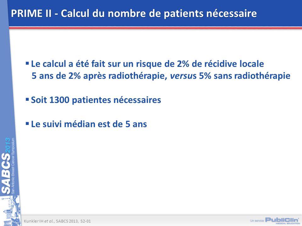 PRIME II - Calcul du nombre de patients nécessaire Le calcul a été fait sur un risque de 2% de récidive locale 5 ans de 2% après radiothérapie, versus