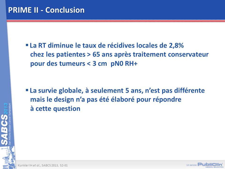 PRIME II - Conclusion La RT diminue le taux de récidives locales de 2,8% chez les patientes > 65 ans après traitement conservateur pour des tumeurs <