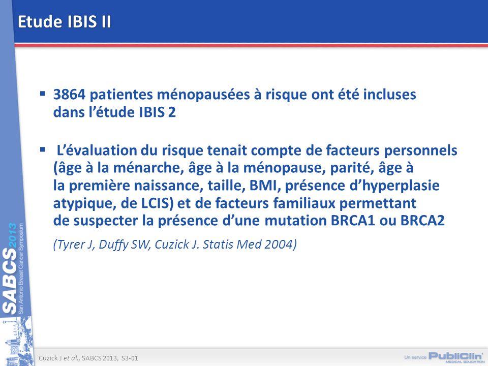 Etude IBIS II 3864 patientes ménopausées à risque ont été incluses dans létude IBIS 2 Lévaluation du risque tenait compte de facteurs personnels (âge