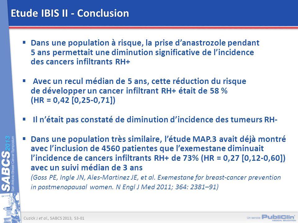 Etude IBIS II - Conclusion Dans une population à risque, la prise danastrozole pendant 5 ans permettait une diminution significative de lincidence des