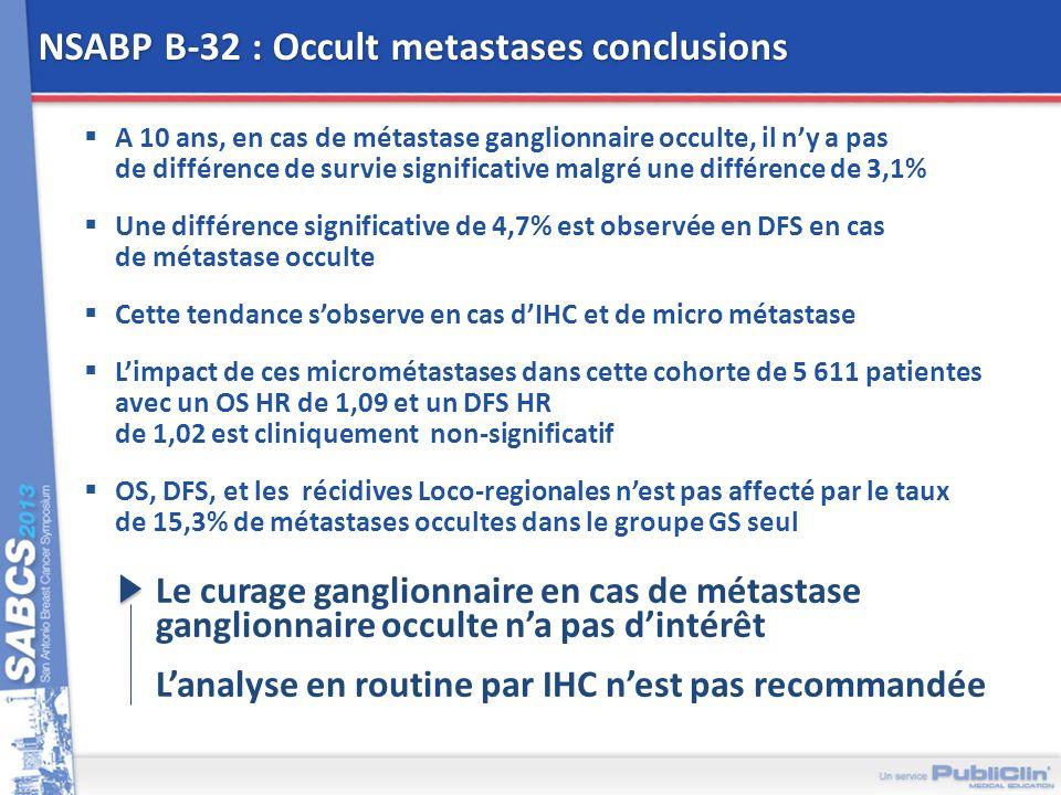 NSABP B-32 : Occult metastases conclusions A 10 ans, en cas de métastase ganglionnaire occulte, il ny a pas de différence de survie significative malg