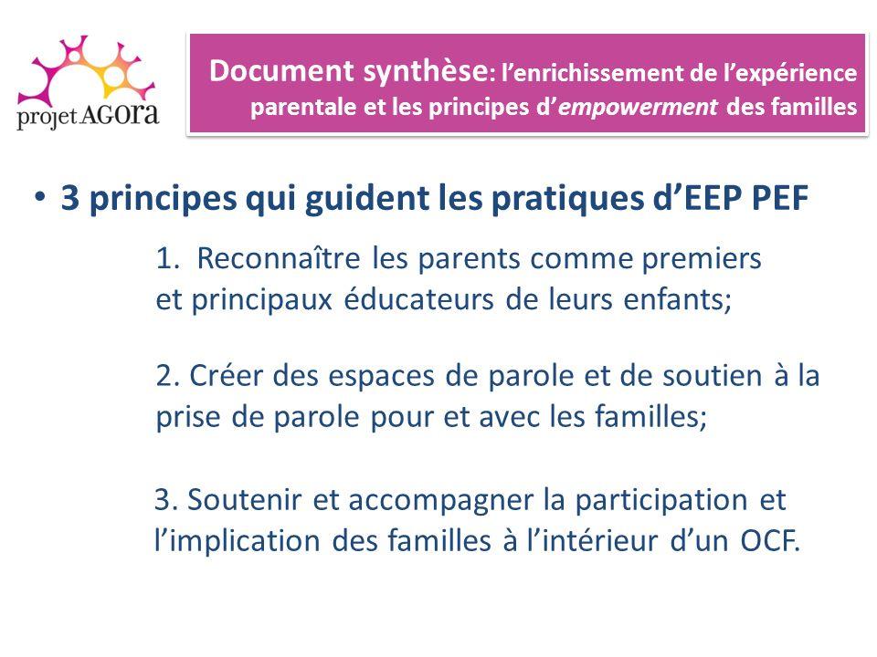3 principes qui guident les pratiques dEEP PEF Document synthèse : lenrichissement de lexpérience parentale et les principes dempowerment des familles 1.