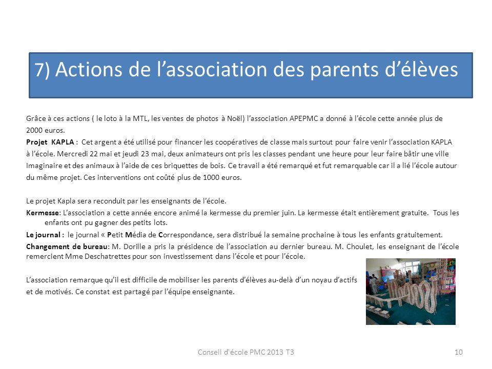 7) Actions de lassociation des parents délèves 10Conseil d'école PMC 2013 T3 Grâce à ces actions ( le loto à la MTL, les ventes de photos à Noël) lass