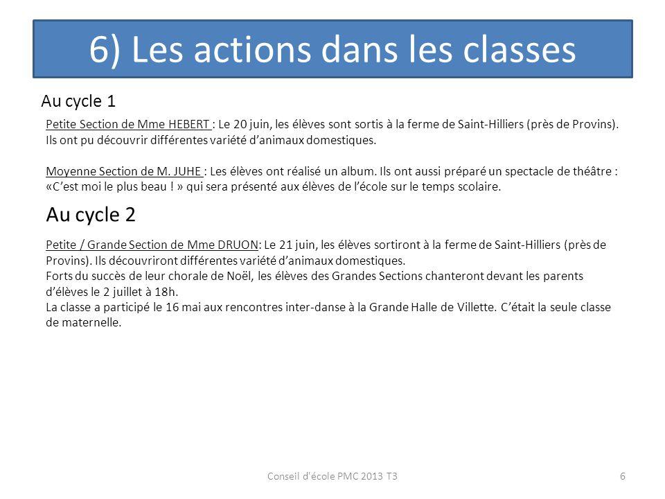 6) Les actions dans les classes 6Conseil d'école PMC 2013 T3 Au cycle 1 Petite Section de Mme HEBERT : Le 20 juin, les élèves sont sortis à la ferme d