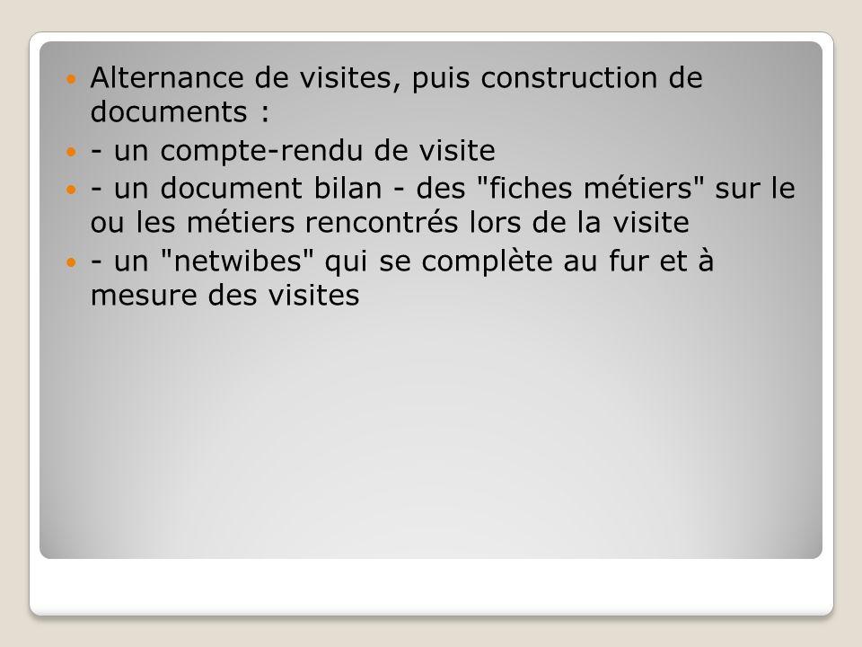 Alternance de visites, puis construction de documents : - un compte-rendu de visite - un document bilan - des