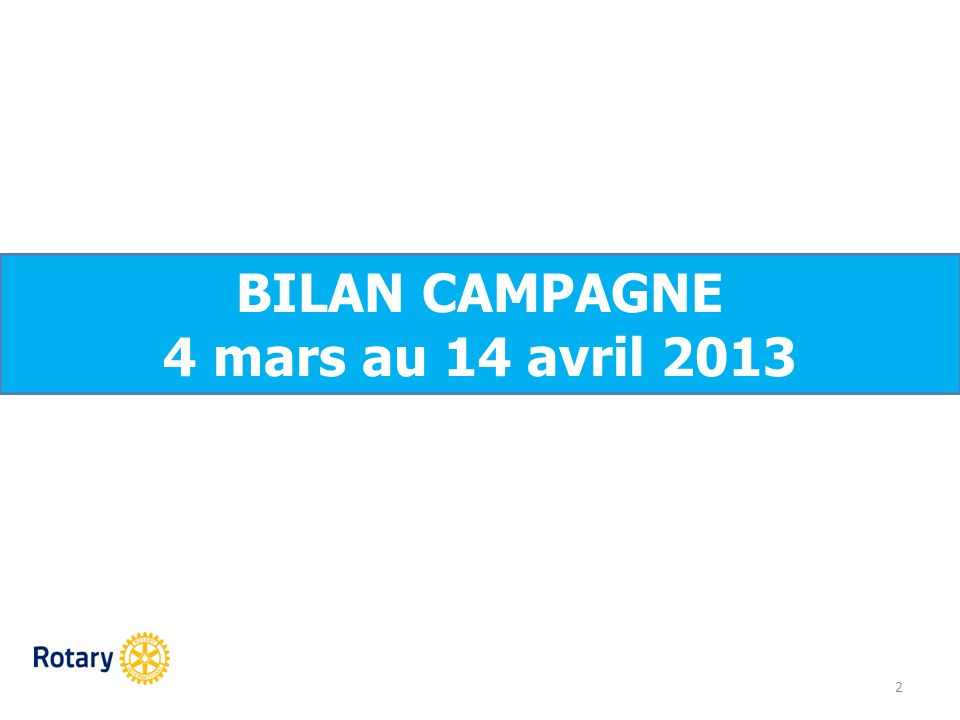 BILAN CAMPAGNE 4 mars au 14 avril 2013 2