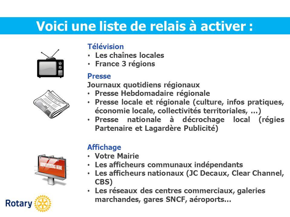 Télévision Les chaînes locales France 3 régions Voici une liste de relais à activer : Presse Journaux quotidiens régionaux Presse Hebdomadaire régiona