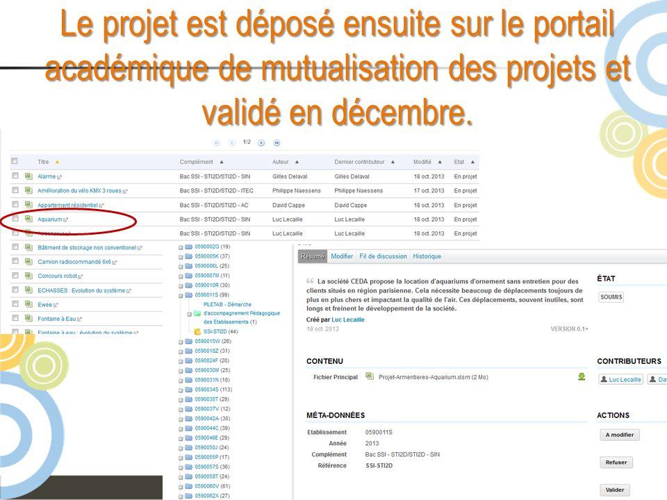 Début janvier Le professeur présente aux élèves les différents projets dévaluation.