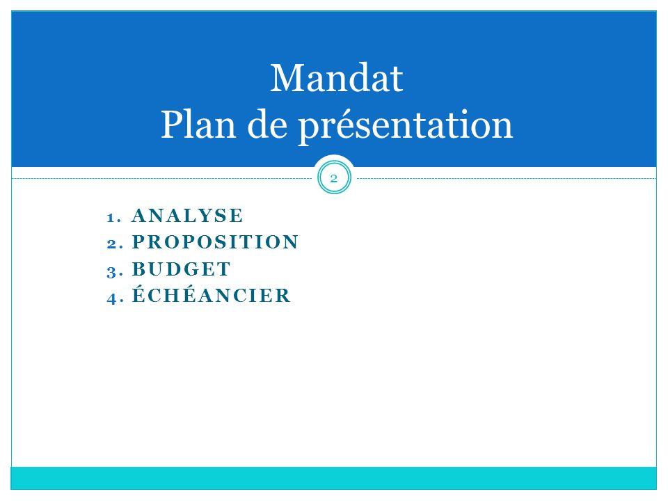 1. ANALYSE 2. PROPOSITION 3. BUDGET 4. ÉCHÉANCIER 2 Mandat Plan de présentation