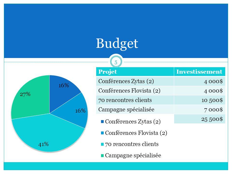 Budget ProjetInvestissement Conférences Zytas (2)4 000$ Conférences Flovista (2)4 000$ 70 rencontres clients10 500$ Campagne spécialisée7 000$ 25 500$