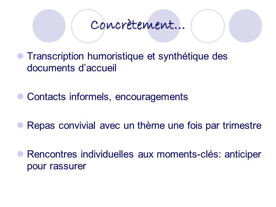 Concrètement… Transcription humoristique et synthétique des documents daccueil Contacts informels, encouragements Repas convivial avec un thème une fo