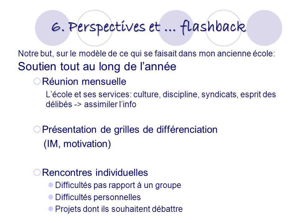 6. Perspectives et … flashback Notre but, sur le modèle de ce qui se faisait dans mon ancienne école: Soutien tout au long de lannée Réunion mensuelle