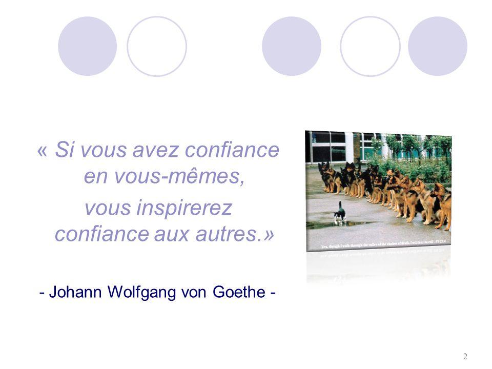 2 « Si vous avez confiance en vous-mêmes, vous inspirerez confiance aux autres.» - Johann Wolfgang von Goethe -