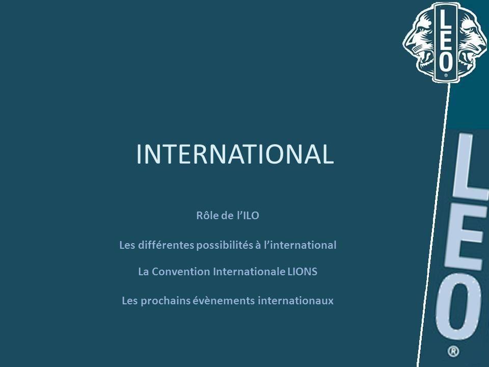 INTERNATIONAL Rôle de lILO Les différentes possibilités à linternational La Convention Internationale LIONS Les prochains évènements internationaux