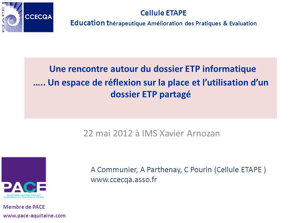 Une rencontre autour du dossier ETP informatique ….. Un espace de réflexion sur la place et lutilisation dun dossier ETP partagé 22 mai 2012 à IMS Xav