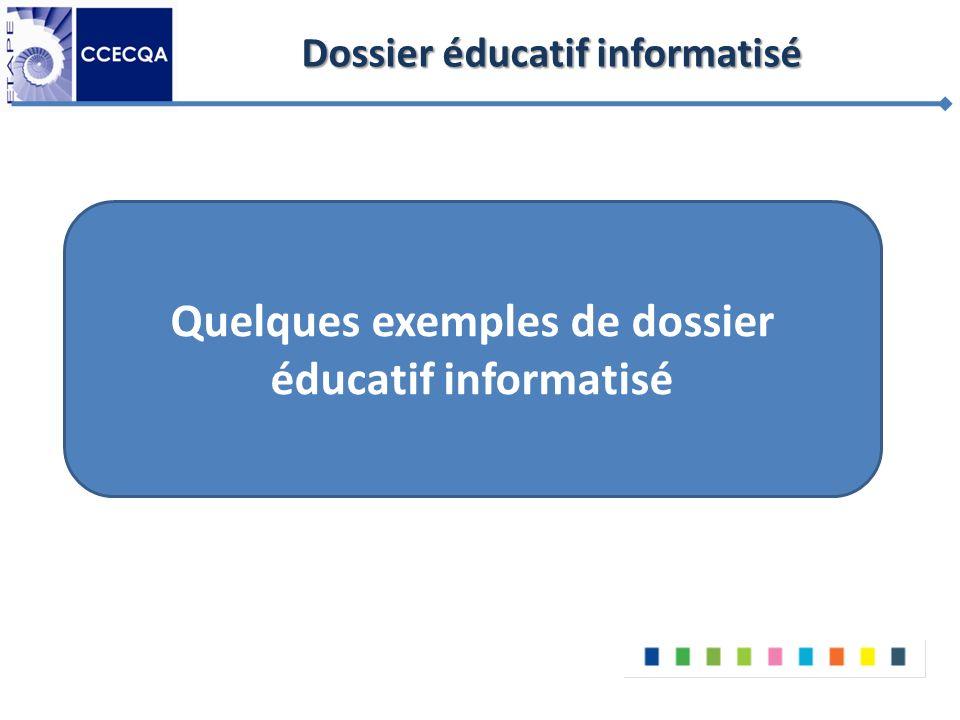 Dossier éducatif informatisé Quelques exemples de dossier éducatif informatisé