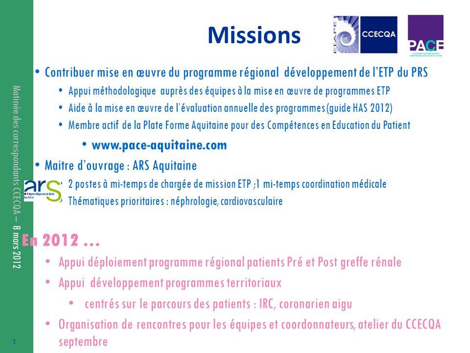 Matinée des correspondants CCECQA – 8 mars 2012 Missions Contribuer mise en œuvre du programme régional développement de lETP du PRS Appui méthodologi