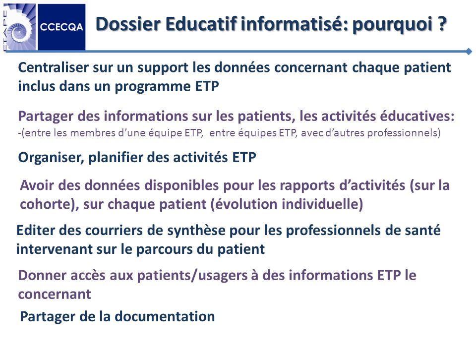 Dossier Educatif informatisé: pourquoi ? Partager des informations sur les patients, les activités éducatives: -(entre les membres dune équipe ETP, en