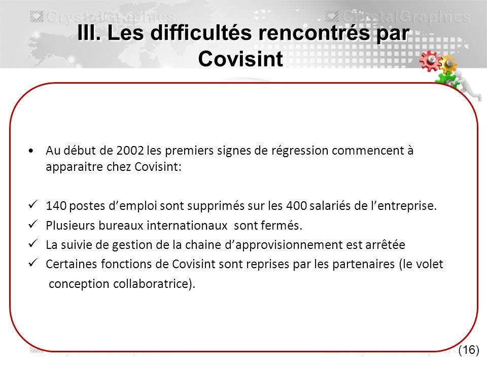 III. Les difficultés rencontrés par Covisint Au début de 2002 les premiers signes de régression commencent à apparaitre chez Covisint: 140 postes demp