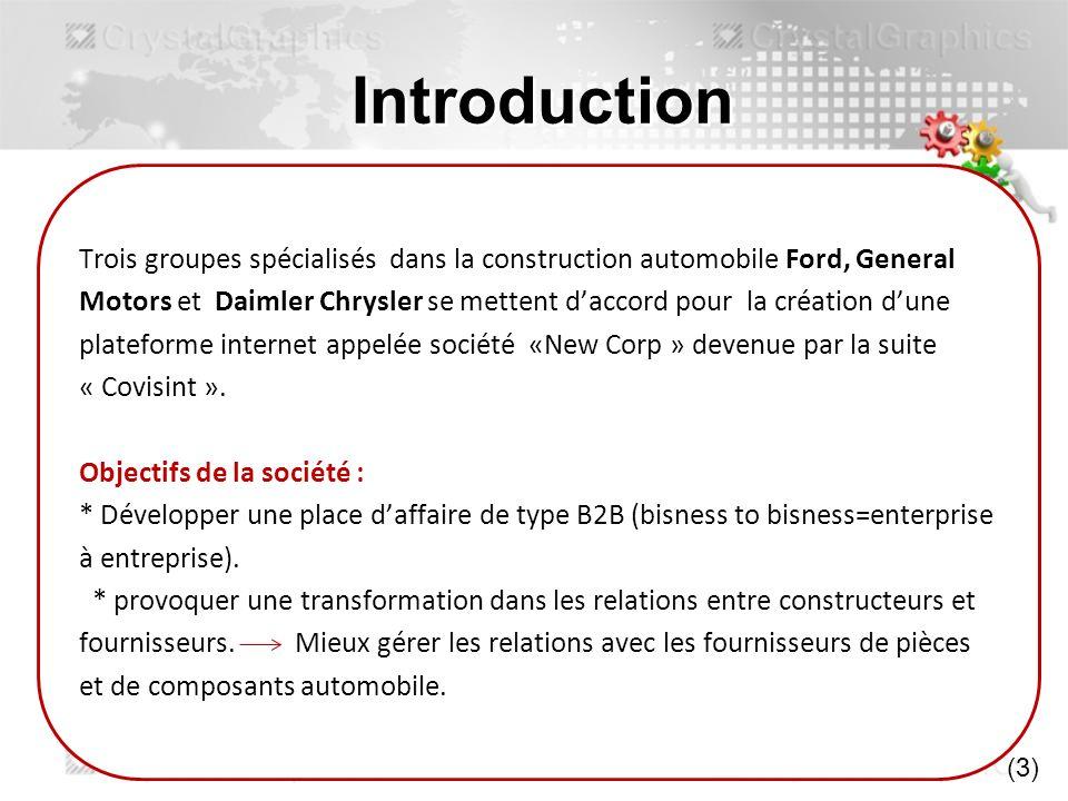 Introduction Trois groupes spécialisés dans la construction automobile Ford, General Motors et Daimler Chrysler se mettent daccord pour la création du